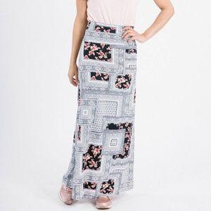 Maxi Skirt - Frames & Flowers Print